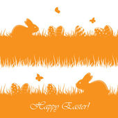 Orange Easter background with eggs and rabbits — Stock Vector