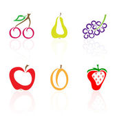 Set of colored fruit icons — Stock Vector