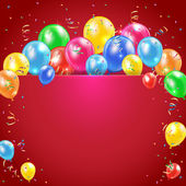 Balloons and streamer on red background — Vector de stock