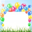 Balloons and banner on a grass — Stock Vector