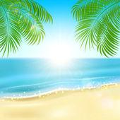 Palms on the beach — Vector de stock