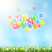 Sunny background with grass and balloons — Stock Vector