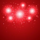 Firework on red background — Stockvector