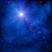 Shiny star on night sky — Stockvector