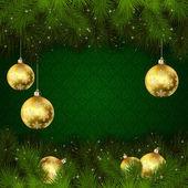 Bolas de navidad sobre fondo verde — Vector de stock
