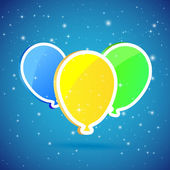 Three balloons on starry background — Vecteur