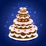 Birthday cake on sparkling background — Stock Vector #49086199