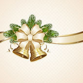 Bow and Christmas bells — Stockvector