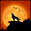 Halloween background with wolf — Stock Vector