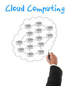 Businessman creating a cloud computing diagram concept — Stock Photo