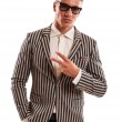 Funky businessman showing peace sign — Stock Photo #32010925