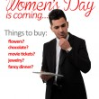 Man thinking at Woman's Day gift lis — Photo