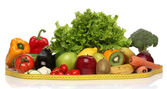 Delicious group of healthy vegetables isolated on white — Stock Photo