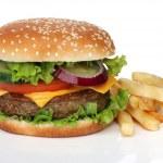 Tasty hamburger and french fries isolated — Stock Photo #48764073