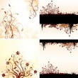 Vector set of grunge floral backgrounds — Stock Vector