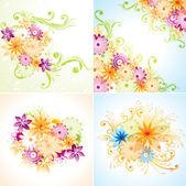 Four floral designs. Eps8 (Flatten transparency). — Stock Vector