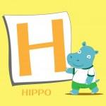 Animal alphabet H — Stock Vector