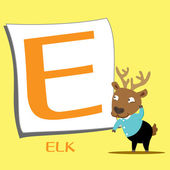 Animal alphabet E — Stock Vector