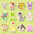 12 Chinese Zodiac animal stickers — Stock Vector #13808988