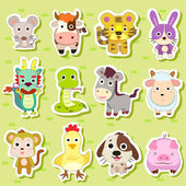 12 Chinese Zodiac animal stickers — Vector de stock