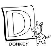 子供たちは、d のためのアルファベットの着色 — ストックベクタ