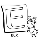 Coloring Alphabet for Kids, E — Vetorial Stock