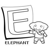 Coloring Alphabet for Kids, E — Stock Vector