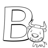 Coloring Alphabet for Kids, B — Stock Vector