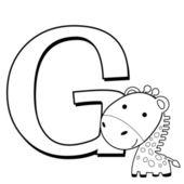 раскраски алфавит для малышей, g — Cтоковый вектор
