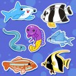 Cute sea animal stickers02 - Stock Vector