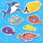 Cute sea animal stickers07 — Stock Vector #14385943