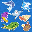 Cute sea animal stickers06 - Stock Vector