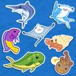 Cute sea animal stickers06 - Image vectorielle