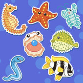 Cute sea animal stickers05 — Stock Vector