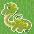 Stock Vector: Cute dinosaur sticker22