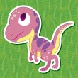 Stock Vector: Cute dinosaur sticker37