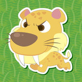 Cute prehistoric animal sticker — Stock Vector
