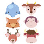 Cute animal head icon04 — Stock Vector