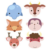 Cute animal head icon04 — Stock Vector