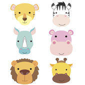 Cute animal head icon01 — Stock Vector