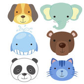 Cute animal head icon02 — Stock Vector