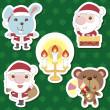 Xmas cute cartoon animal santa claus set — Stock Vector #15359225