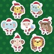 Xmas cute cartoon animal santa claus set - Stock Vector