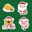 Xmas cute cartoon animal santa claus set — Stock Vector #15359237