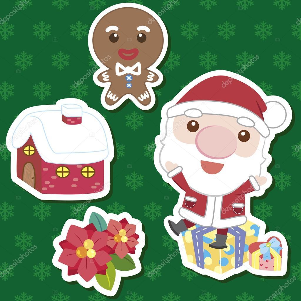 圣诞可爱卡通设置 — 矢量图片作者