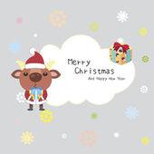 Tarjeta de navidad de dibujos animados — Vector de stock