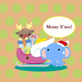 Cartoon Xmas card — Vetorial Stock