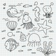 Notebook paper doodles — Stock Vector