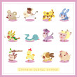 12 cartoon Chinese Zodiac animal stickers — Stock Vector #17972139