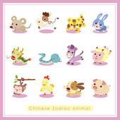 12 cartoon chinese dierenriem dieren stickers — Stockvector